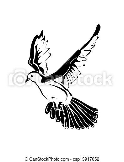Vecteur clipart de pigeon blanc noir on a noir blanc image spectacles csp13917052 - Dessin pigeon ...