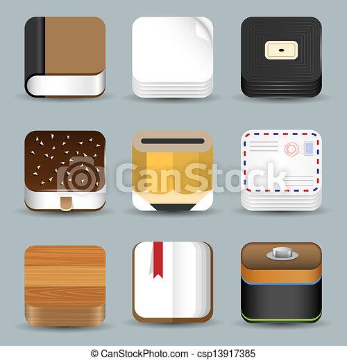vektor von vektor satz app heiligenbilder csp13917385. Black Bedroom Furniture Sets. Home Design Ideas