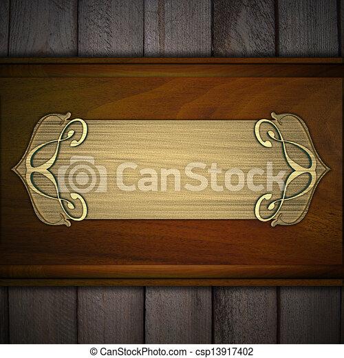 Stock Illustration Av Guld Namnskylt Tr Bakgrund Design Mall Guld Csp13917402 S K