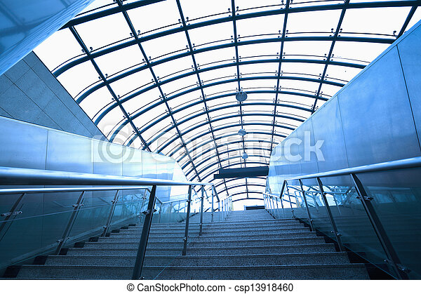 modern architecture steps of moving business escalator and stair - csp13918460