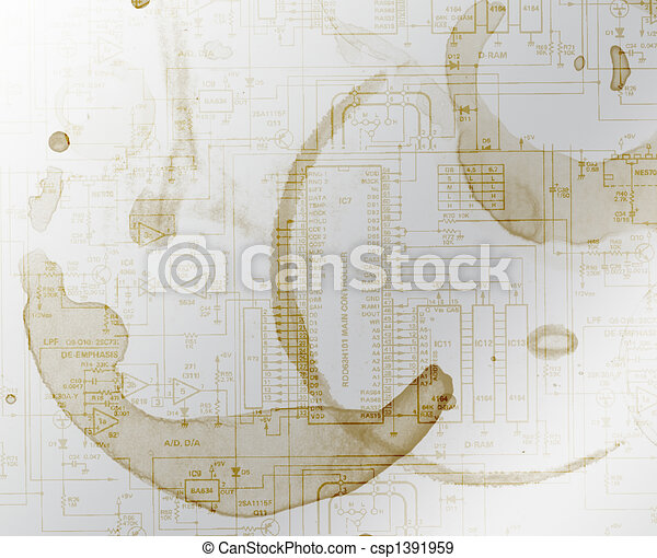 Coffee stained schematic background - csp1391959