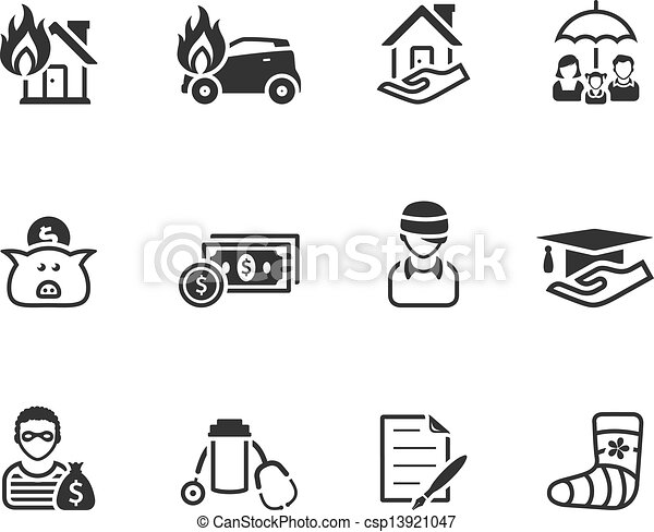 Black And White Icons - Insurance - csp13921047