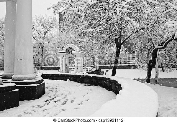 snowfall in the park - csp13921112