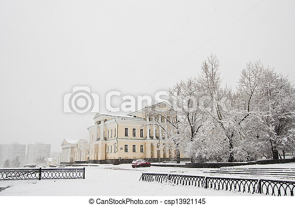 snowfall in the city - csp13921145