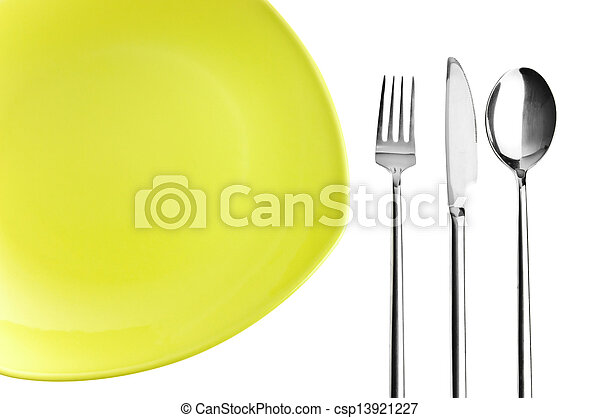 Green plate, fork, knife and spoon - csp13921227