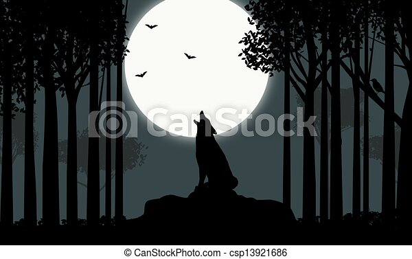 Illustration of howling at the Moon - Illustration of a wolf howling ...
