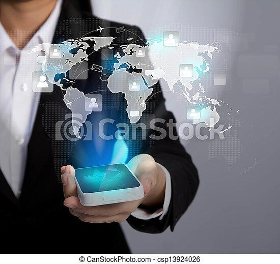ネットワーク, ショー, モビール, コミュニケーション, 現代, 手, 電話, 保有物, 社会, 技術 - csp13924026