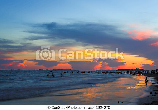 sunset at the sea - csp13924270