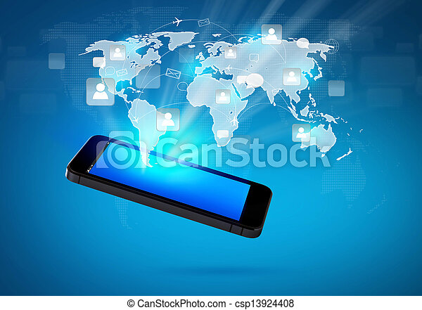 Modern communication technology mobile phone with social network - csp13924408