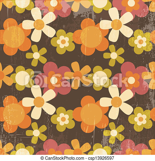 Retro Style Colorful Flower Seamless Pattern - csp13926597