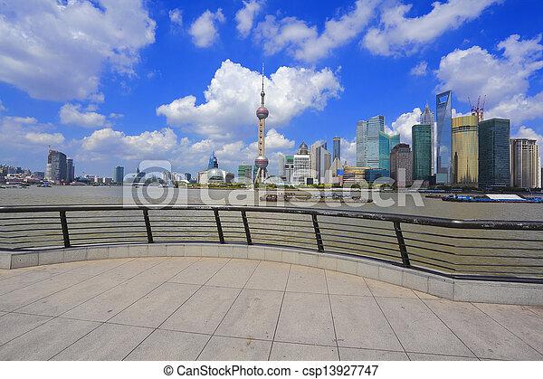 Shanghai landmark skyline at bund city landscape - csp13927747