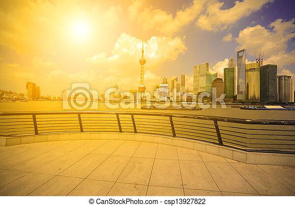 Shanghai landmark skyline at bund city landscape - csp13927822