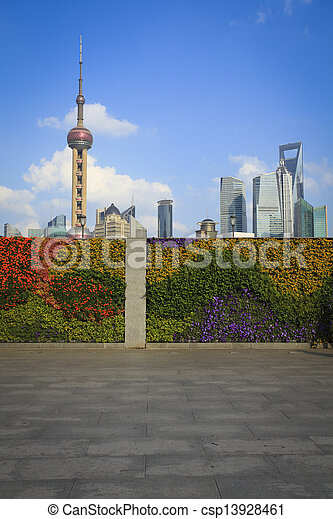 Shanghai bund landmark skyline at New city landscape - csp13928461