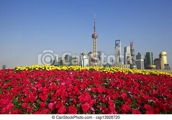 Shanghai bund landmark skyline at New city landscape - csp13928720