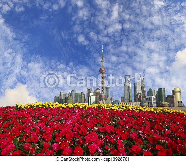 Shanghai bund landmark skyline at New city landscape - csp13928761