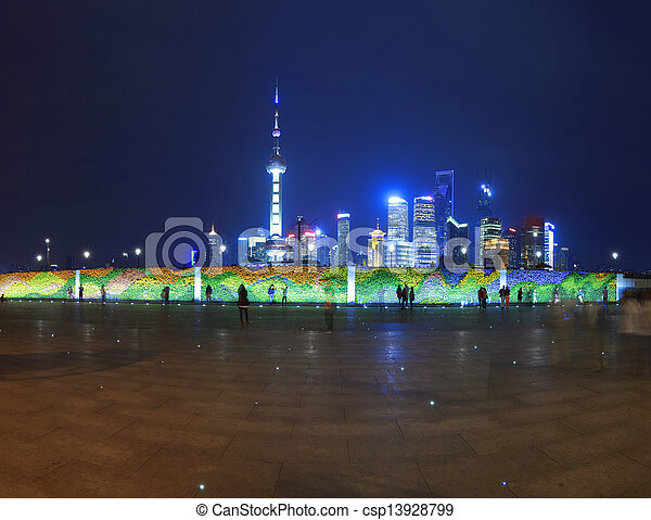 Shanghai Bund panoramic landmark skyline at Holiday night - csp13928799