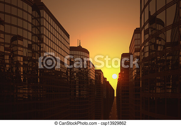 Business skyscrapers during sunset - csp13929862