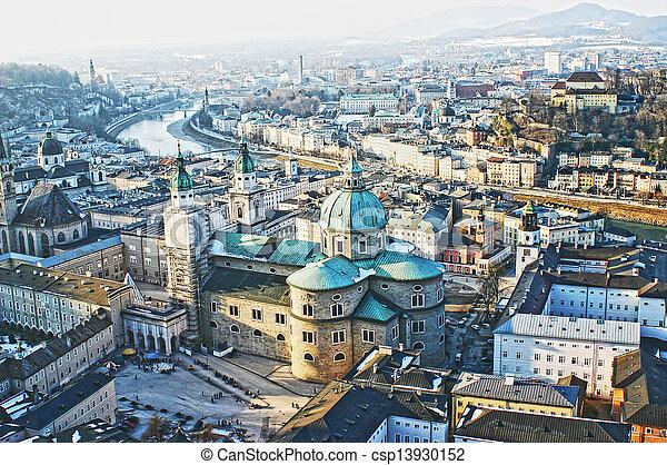 Aerial view of Salzburg, Austria - csp13930152