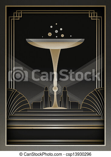 Art Deco Background and Frame - csp13930296