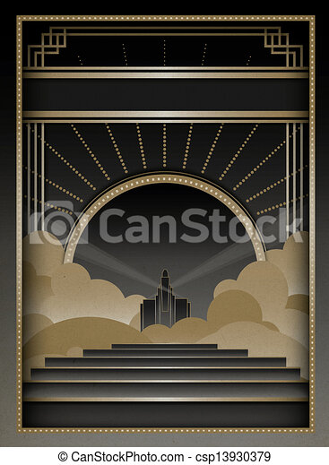 Art Deco Background and Frame - csp13930379