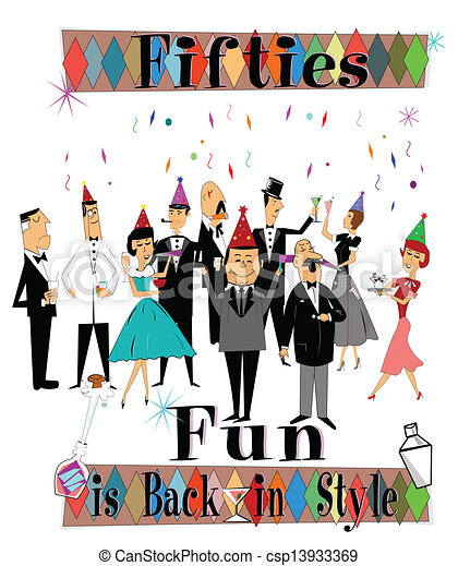 Clip Art Vector of fifties fun is back in style again party with ...
