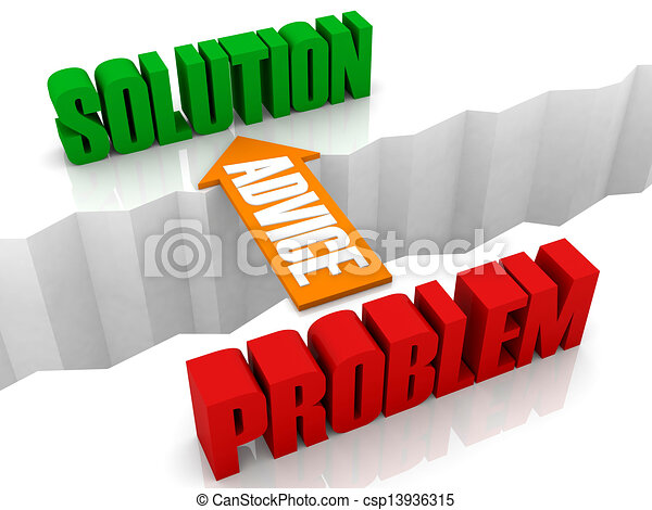 Clipart Of From Problem To Solution Advice Is The Bridge