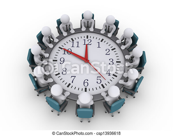 Meeting of businessmen around a clock-table - csp13936618