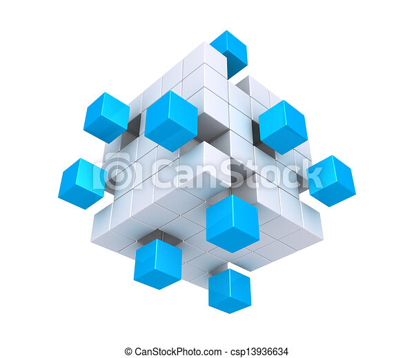 Cubes detached from square object - csp13936634