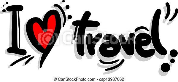 Clip Art Vector Of I Love Travel Creative Design Of I