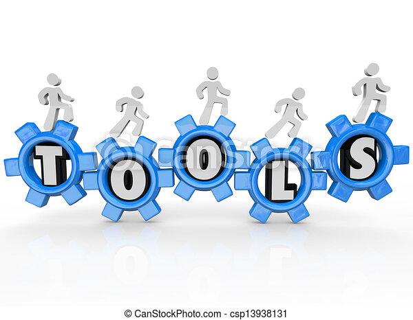 Tools Word Gears Cogs Men Turning Machine - csp13938131