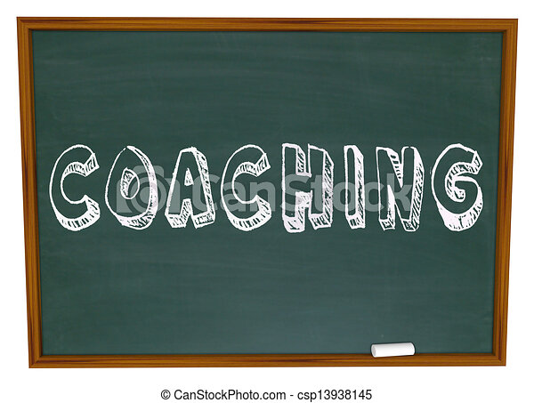 Coaching Word Chalkboard Teaching Learning Sports Education - csp13938145