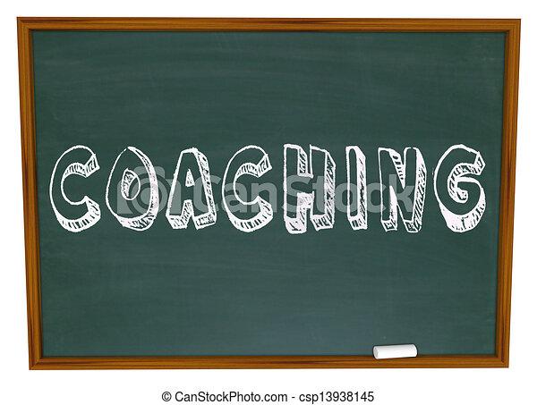 Coaching Word Chalkboard Teaching Learning Sports Education - csp13938145