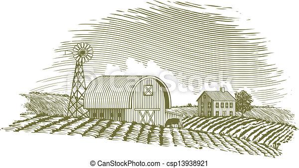 Barn Line Drawing Vector Woodcut Barn And