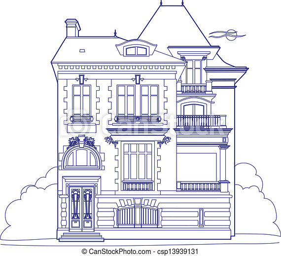 how to draw a 3d mansion step by step