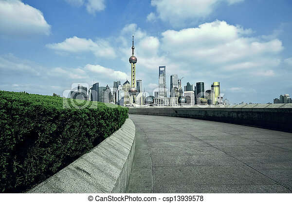 Shanghai bund landmark skyline at city landscape - csp13939578