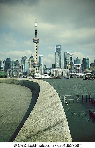 Shanghai bund landmark skyline at city landscape - csp13939597