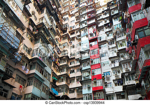 Old residential building in Hong Kong  - csp13939944