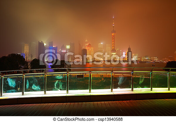 Lujiazui of Shanghai bund at New landmark skyline - csp13940588