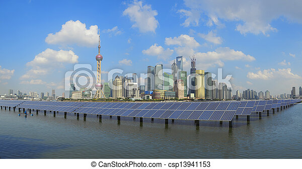 Shanghai Bund skyline landmark at Ecological energy Solar panel - csp13941153