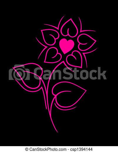 rosa, Recorte, flor, hecho, Corazones, Trayectoria - csp1394144