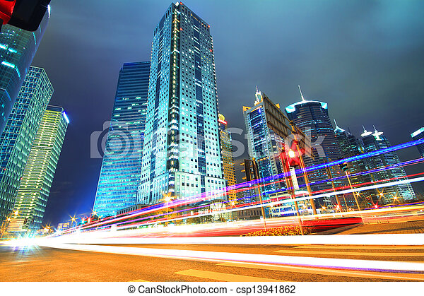 Dreamy blue of modern office buildings at night in Shanghai Far East  - csp13941862