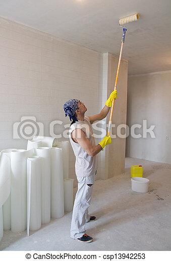 images de ouvrier peinture plafond peinture rouleau jeune csp13942253 recherchez des. Black Bedroom Furniture Sets. Home Design Ideas
