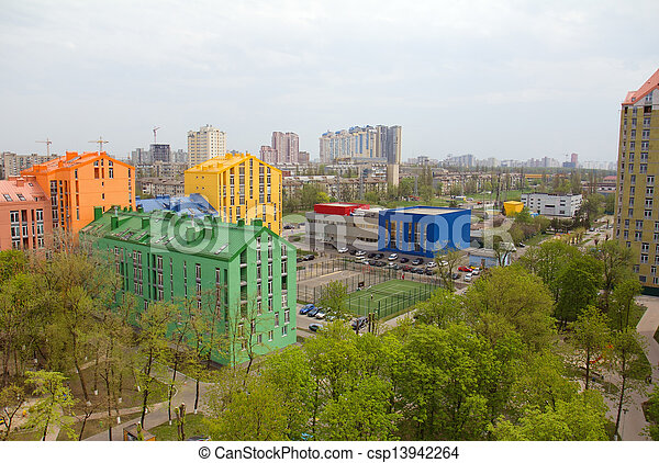 Aerial view on colorful residential buildings - csp13942264