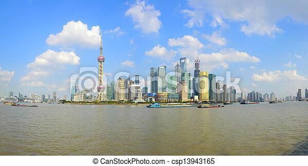 Shanghai bund landmark skyline at city landscape - csp13943165