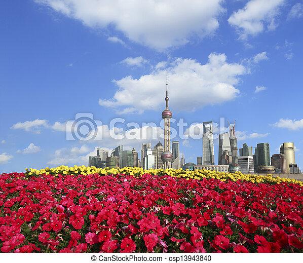 Shanghai bund landmark skyline at New city landscape - csp13943840