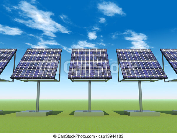 Stock Illustration of Solar Power Plant - Computer ...