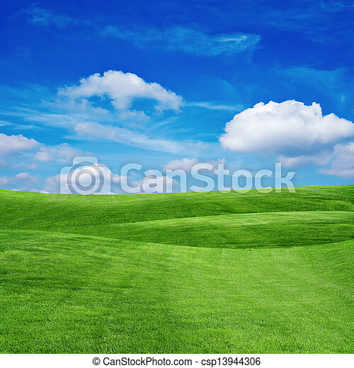 grass field with cloudy sky - csp13944306