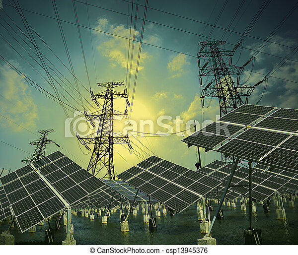 solar energy panels and Power transmission tower - csp13945376