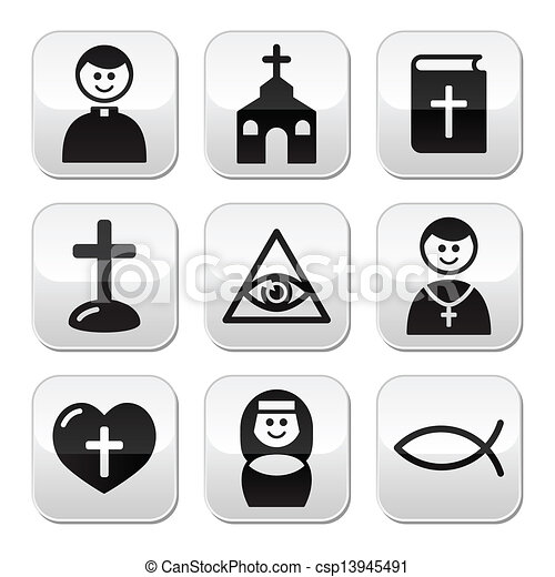 Religion catholic church button set - csp13945491
