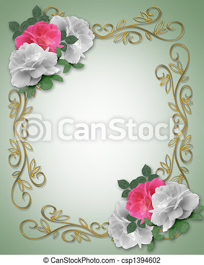 Stock Illustration Wedding Border Pink and White Roses